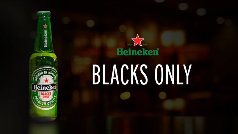 Illustration for article titled Heineken Apologizes For Racist Ad With New Special-Release 'Blacks Only' Beer