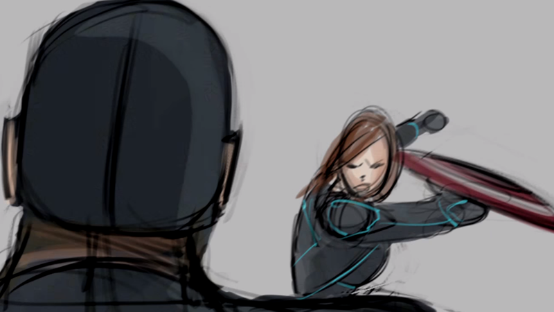 Illustration for article titled Watch Black Widow and Captain America Brawl in a Battle Cut From Civil War