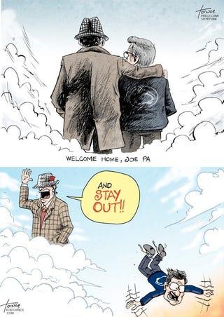 Illustration for article titled Cartoon Bear Bryant Kicked Cartoon Joe Paterno Out Of Cartoon Heaven
