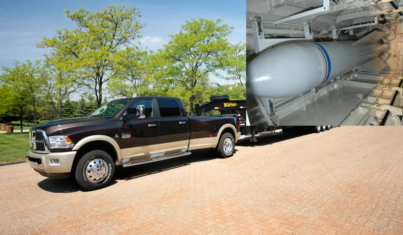 Illustration for article titled The 2013 Ram 3500 HD Can Tow America's 30,000-Pound Super Bomb
