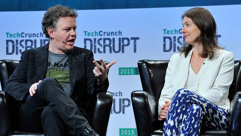 Matthew Prince and Michelle Zatlyn of CloudFlare speak onstage during day two of TechCrunch Disrupt SF 2015. Photo: Getty