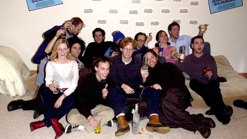 The cast of Wet Hot American Summer at the 2001 Sundance Film Festival (Photo: Doug Piburn/WireImage via Getty)