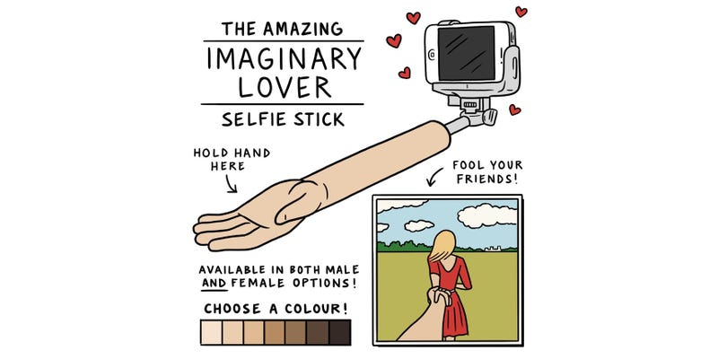 Illustration for article titled This Is the Selfie Stick the Lonely Have Been Waiting For
