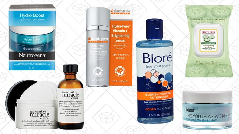 Neutrogena Hydro Boost Water Gel, $16 | philosophy The Miracle Worker Anti-Wrinkle Retinoid Pads and Solution, $64 | Dr. Dennis Gross Skincare Hydra-Pure Vitamin C Serum, $81 | Biore Blemish Treating Astringent, $6 | Burt's Bees Facial Cleansing Towelettes, $5 | Bliss The Youth As We Know It Anti-Aging Moisture Cream, $63