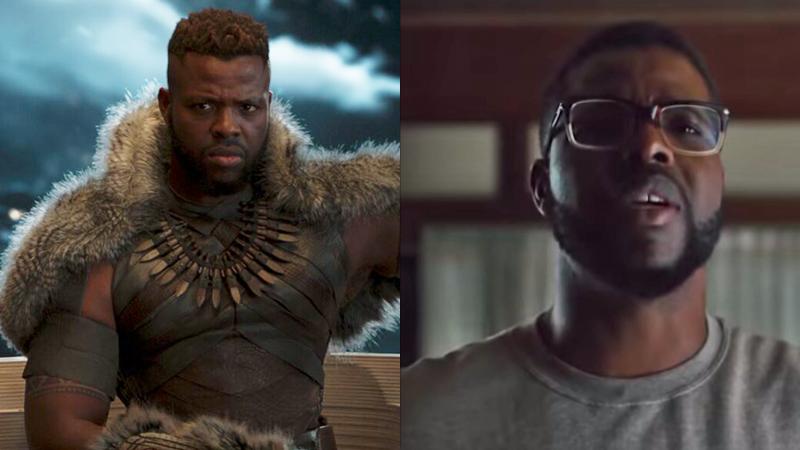 Winston Duke como M'Baku (izquierda) en Black Panther y como Gabe en Nosotros (derecha).