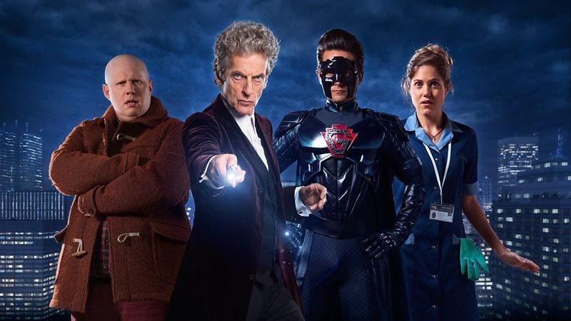 Matt Lucas, Peter Capaldi, Justin Chatwin, Charity Wakefield (Image: BBC)