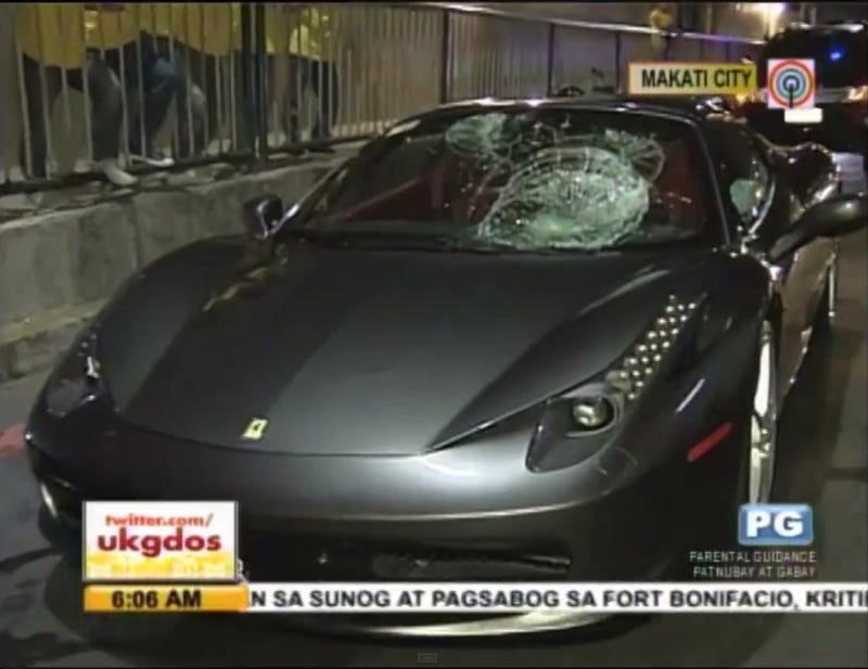 Illustration for article titled This Ferrari 458 Spider Hit A Man Waiting For The Bus
