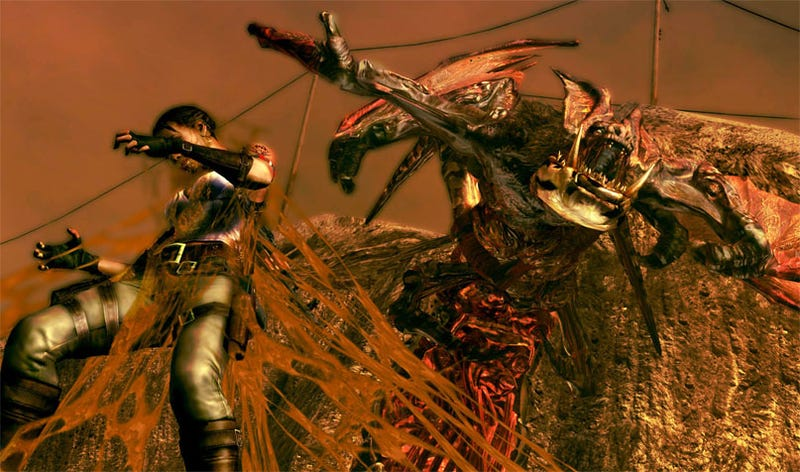 Illustration for article titled Resident Evil 5 Screens: Covered In Flying Zombie Bat Discharge