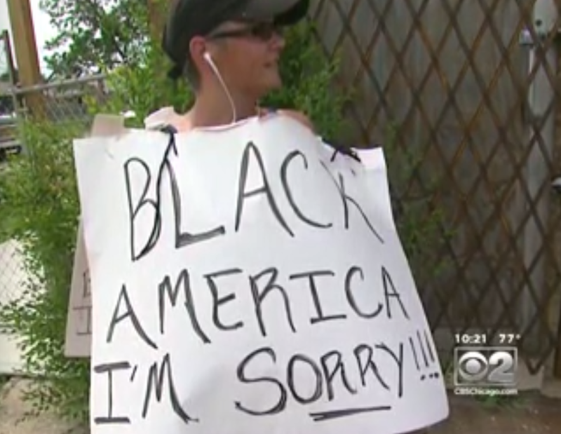 Laurella Willis has been walking the streets of Chicago's South Side bearing a sign with her apology.CBS Chicago