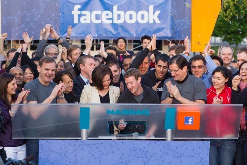 Facebook CEO and founder Mark Zuckerberg rings the NASDAQ bell at the company's initial public offering on May 18, 2012.Facebook