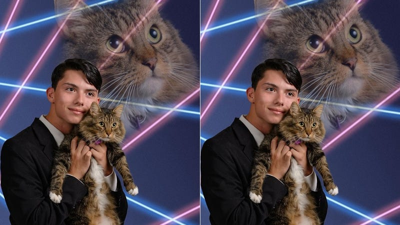 Illustration for article titled Let's Help This American Hero Get His Cat in the Yearbook
