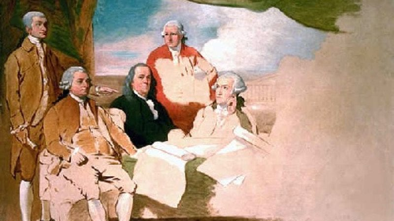 West's Treaty Of Paris depicts Ben Franklin, John Jay, Henry Laurens, and John Adams, but not the British delegates present.