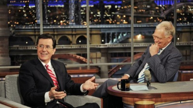 Illustration for article titled Stephen Colbert is succeeding downward by taking over Late Show