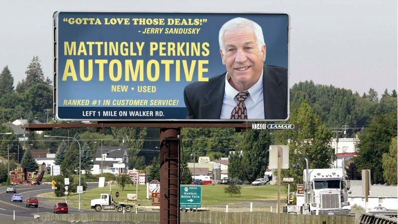 Illustration for article titled Car Dealership Giving Serious Thought To Ending Sponsorship Deal With Jerry Sandusky
