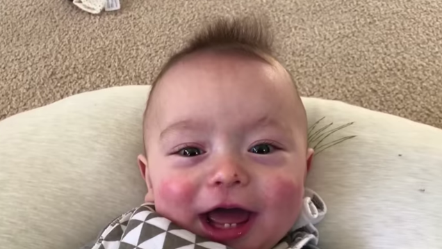 """Tiny baby has no business doing a """"Thunderstruck"""" cover this good"""