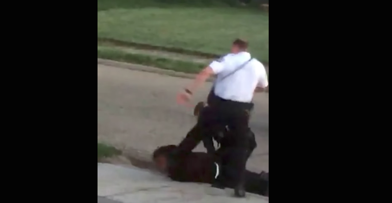 Video image of Columbus, Ohio, Police Officer Zachary Rosen stomping on Demarco Anderson's head (YouTube screenshot)