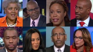 Top row: Donna Brazile;Jason Johnson;Heather McGhee; Van Jones. Bottom row:Marc Lamont Hill;Angela Rye;Michael Steele;Nia-Malika Henderson.Top row: THIS WEEK/ABC NEWS;AL JAZEERA ENGLISH;MEET THE PRESS/NBC; CNN. Bottom row: CNN; CNN;MSNBC;CNN.