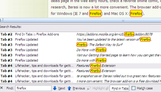 Find In Tabs Searches Text Across All Your Firefox Tabs