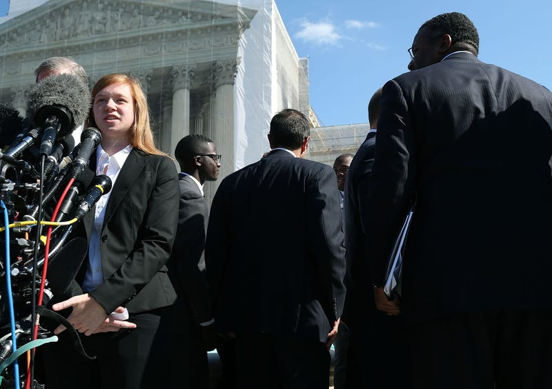 Plaintiff Abigail Noel Fisher speaks to the media after the U.S. Supreme Court heard arguments in her case against the University of Texas on Oct. 10, 2012, in Washington, D.C. The high court has now ruled that the university's consideration of race in admissions is constitutional.Mark Wilson/Getty Images
