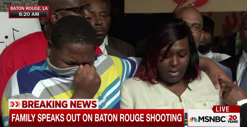 Cameron Sterling, the son of Alton Sterling, cries as his mother, Quinyetta McMillon, demands justice for his father, who was killed by Baton Rouge, La., police July 5, 2016.MSNBC screenshot