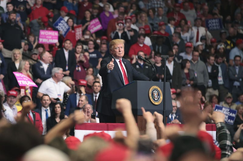 President Donald Trump speaks to supporters during a rally at the Van Andel Arena on March 28, 2019 in Grand Rapids, Michigan. Grand Rapids was the final city Trump visited during his 2016 campaign.