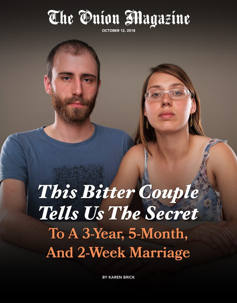 Illustration for article titled This Bitter Couple Tells Us The Secret To A 3-Year, 5-Month, And 2-Week Marriage
