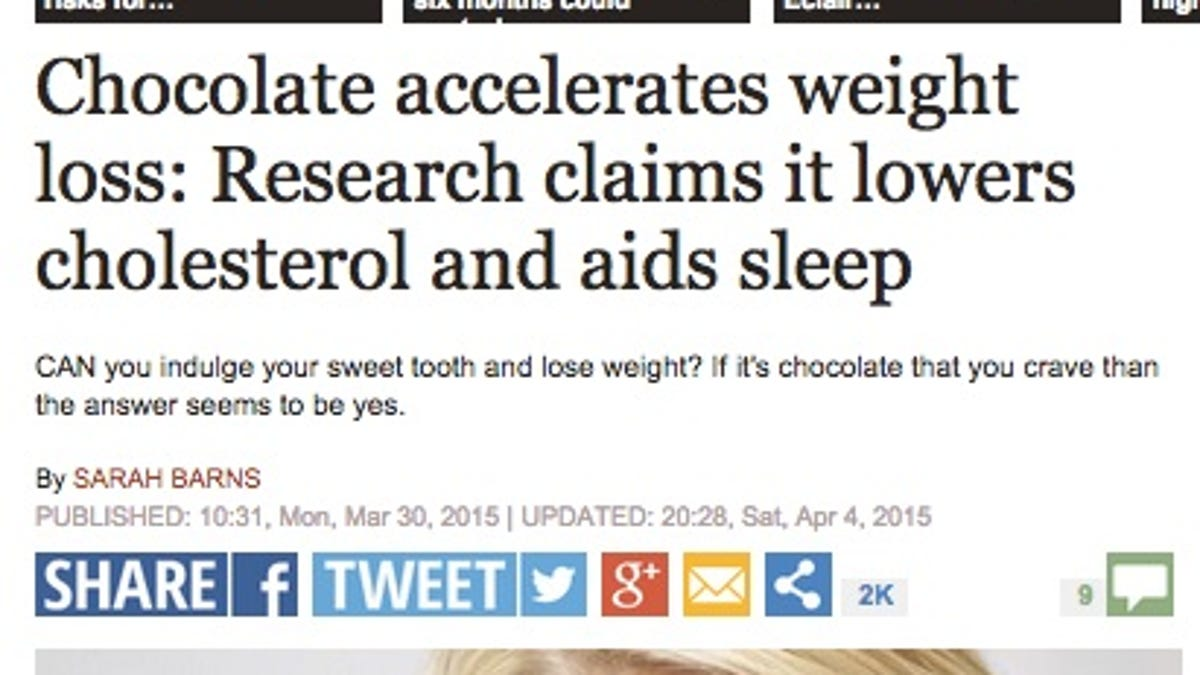 Image result for chocolate good for you headlines