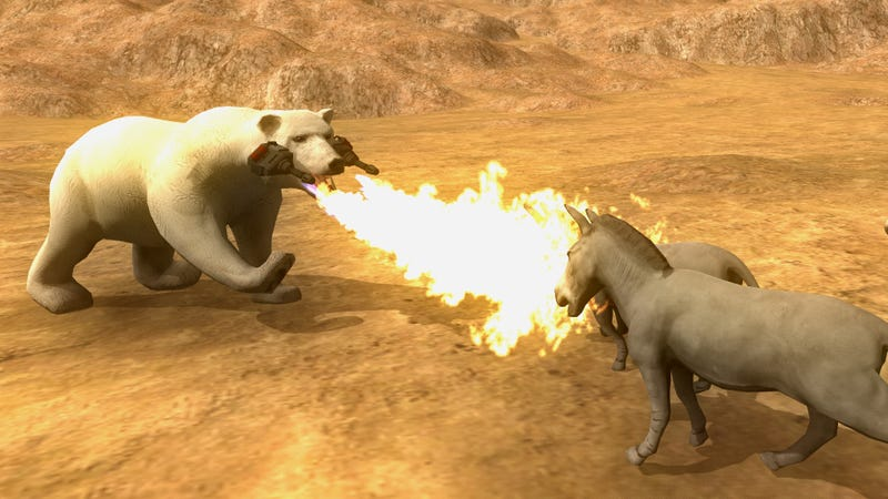 A polar bear, equipped with flamethrowers, attacks a pair of donkeys. Screenshot taken from store page.