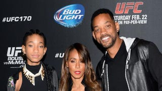 Willow Smith and her parents, Jada Pinkett Smith and Will Smith, attend the UFC 170 event at the Mandalay Bay Events Center on Feb. 22, 2014, in Las Vegas. Ethan Miller/Getty Images