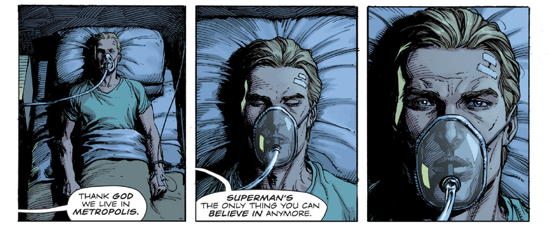Adrian Veidt wakes up in the hospital at the mention of the Man of Steel.