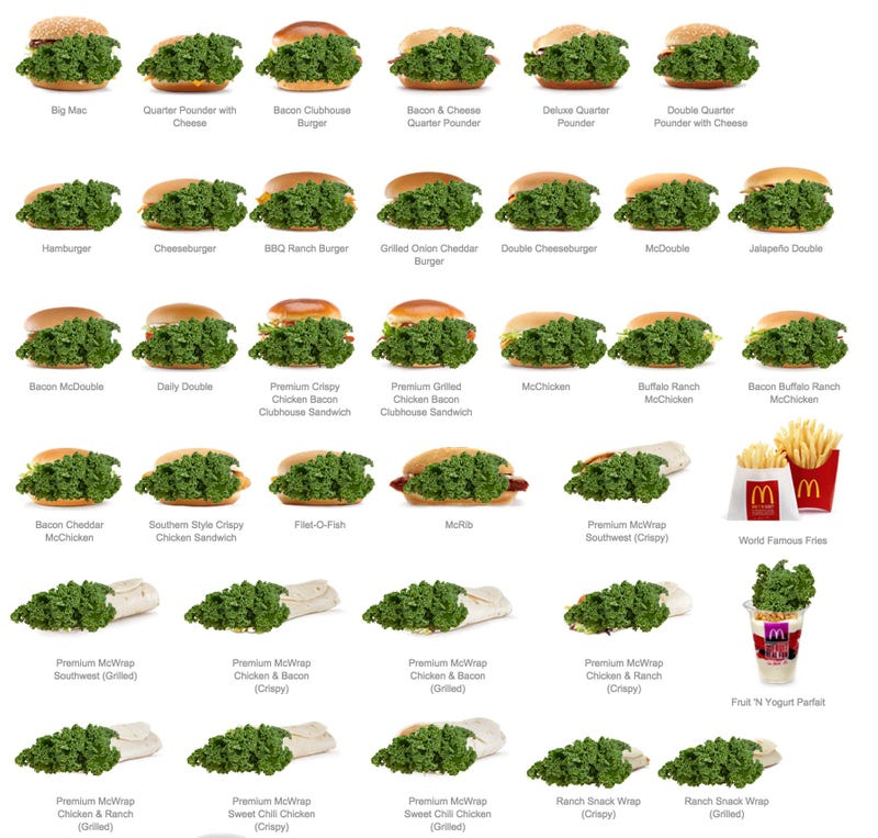 Illustration for article titled List of Kale Items Made With Kale On New McDonald's Menu (With Kale)