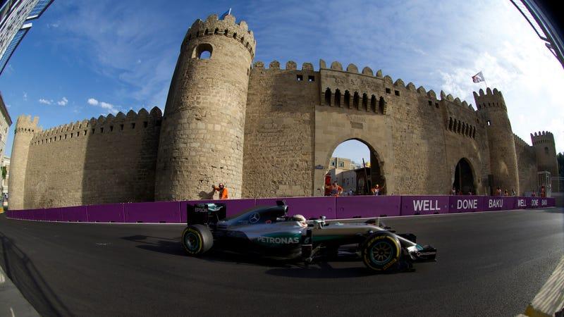 Lewis Hamilton at the Formula One Grand Prix of Europe in Baku, Azerbaijan in June 2016. Photo credit: AP Photo/Ivan Sekretarev