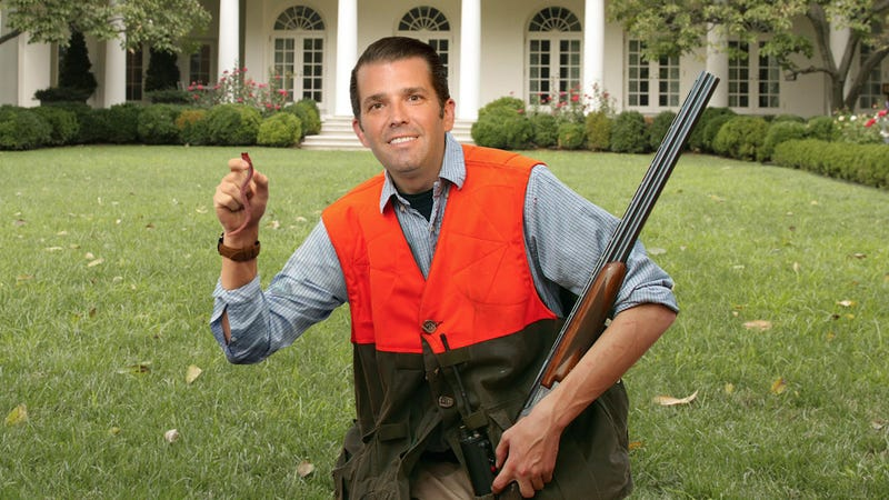 Illustration for article titled Despicable: Donald Trump Jr. Just Posted A Photo Of Himself Proudly Posing With A Worm He Shot On The White House Lawn
