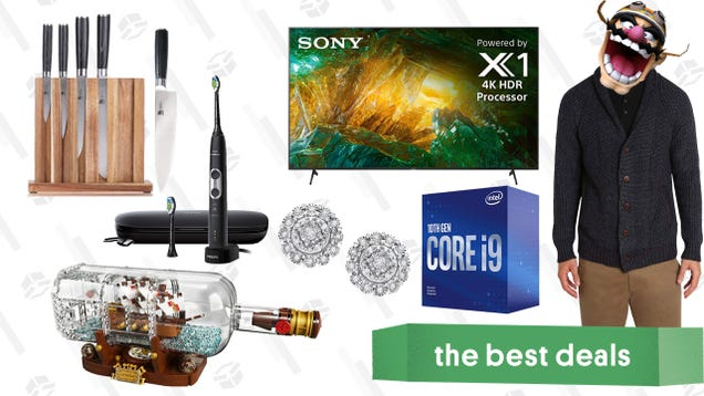 Friday s Best Deals: Intel Core i9, LEGO Ship in a Bottle, Diamond Halo Earrings, Sony X800H 65  4K TV, Philips Sonicare Electric Toothbrush, and More