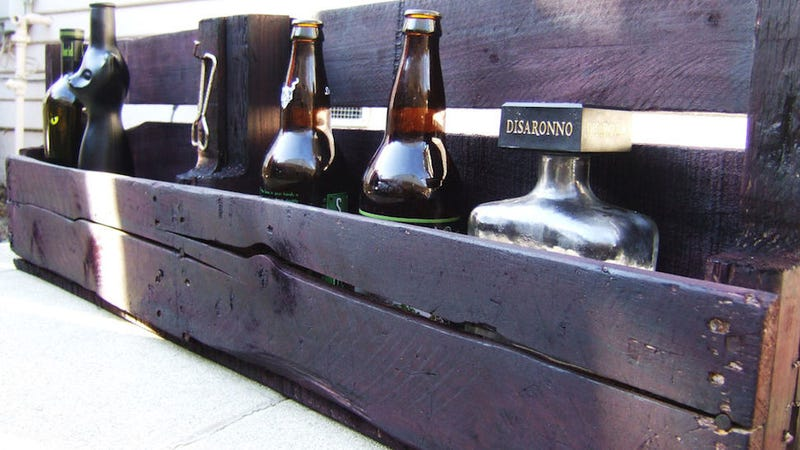 This DIY Bar Shelf Is Made from Reclaimed Pallet Wood