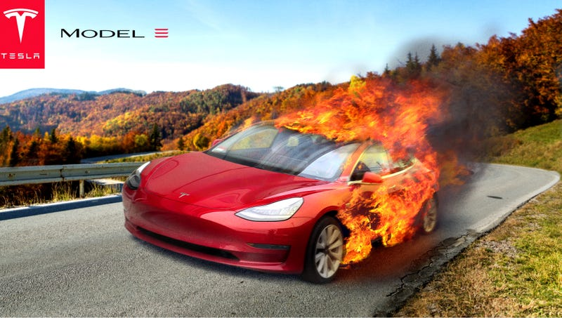 new tesla model 3 goes from zero to engulfed in flames in 3 5 seconds