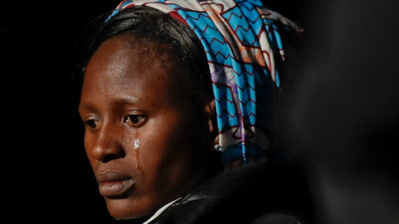 Rebecca Bitrus, a Nigerian victim of Boko Haram, attends a ceremony in Rome where the Colosseum was lit up in red to draw attention to the persecution of Christians around the world on Feb. 24, 2018.