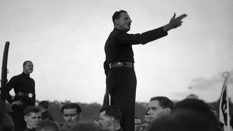 """Just another """"dapper"""" fascist. Oswald Mosley at Blackshirts Demonstration in London, 1934. Image via AP."""