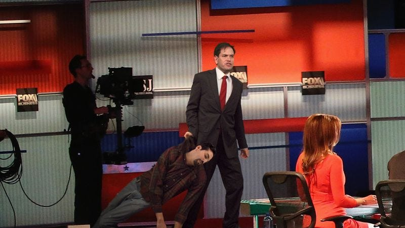 Illustration for article titled Rubio Refutes Claim He Soft On Immigration By Dragging Undocumented Worker He Knocked Out Cold Onto Stage