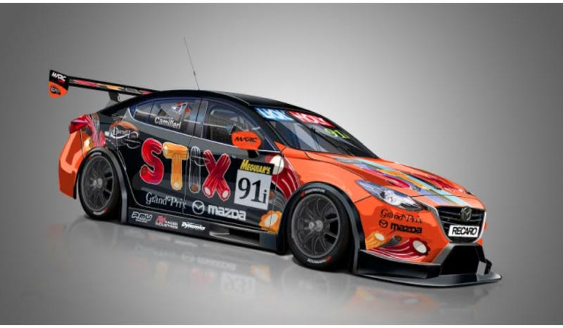 Illustration for article titled The Bathurst 12 Hour Is A Magical Land With A Candy-Liveried V8 Mazda3