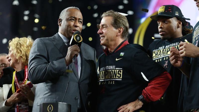 John Saunders and Coach Nick Saban after the 2016 College Football National Championship game (Photo: Allen Kee/ESPN Images)
