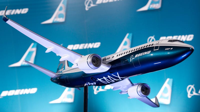 A scale model of Boeing's 737 Max aircraft.