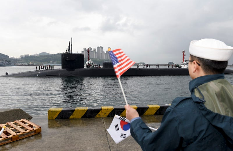 The nuclear submarine USS Michigan, armed with 154 tomahawk missiles, arrives in Busan, South Korea on April 24, 2017 (U.S. Navy photo by Mass Communication Specialist 2nd Class Jermaine Ralliford)
