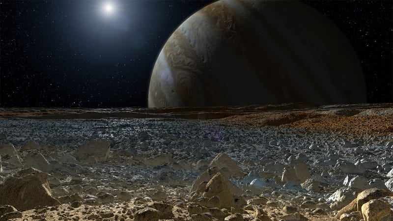 Artist's impression of a view of Jupiter from Europa's surface.