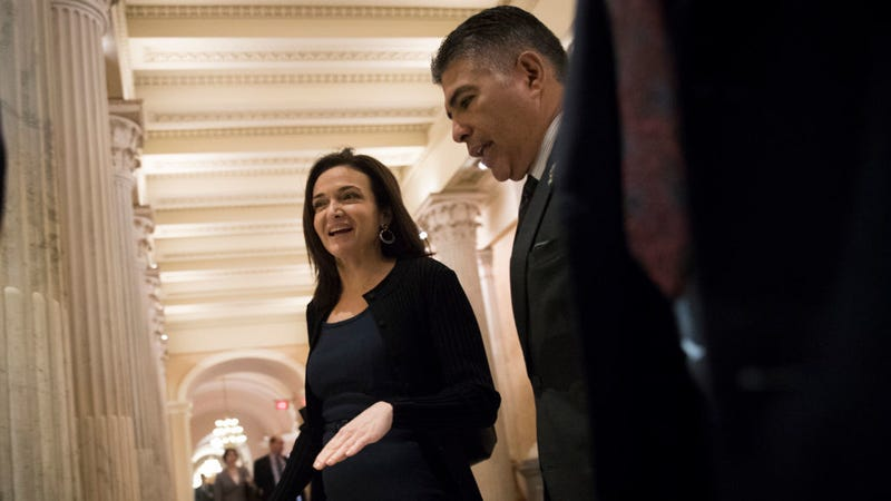 Facebook COO Cheryl Sandberg speaks with lawmakers about Russian ads on Facebook's platform. Photo: Getty