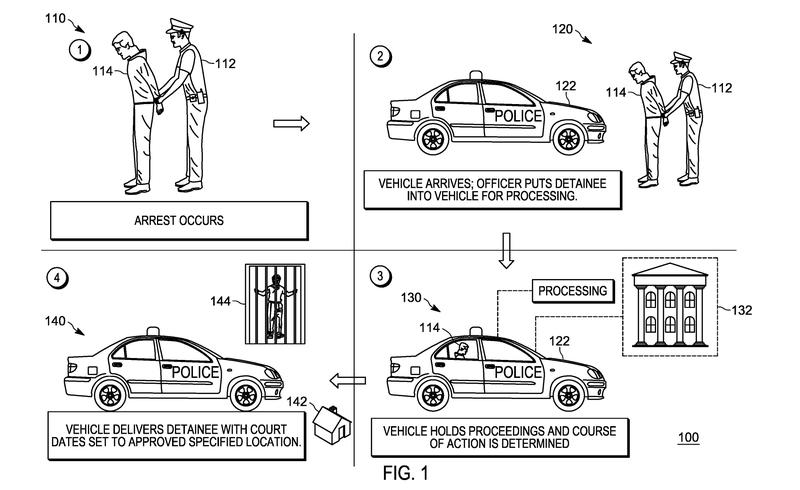 Illustration for article titled Motorola patenta un coche autónomo que te hace el control de alcoholemia, te detiene, te lee los derechos, llama a tu abogado y recoge la fianza