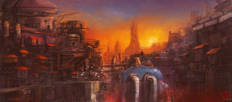 Yellow Dwarf Sunrise On Human Colony 73 City Zone
