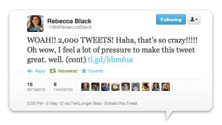 Illustration for article titled Rebecca Black's 2,000th Tweet Is Very Bad