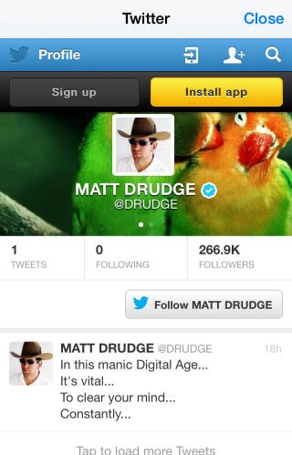 Illustration for article titled Matt Drudge clears his mind, deletes all his tweets except one