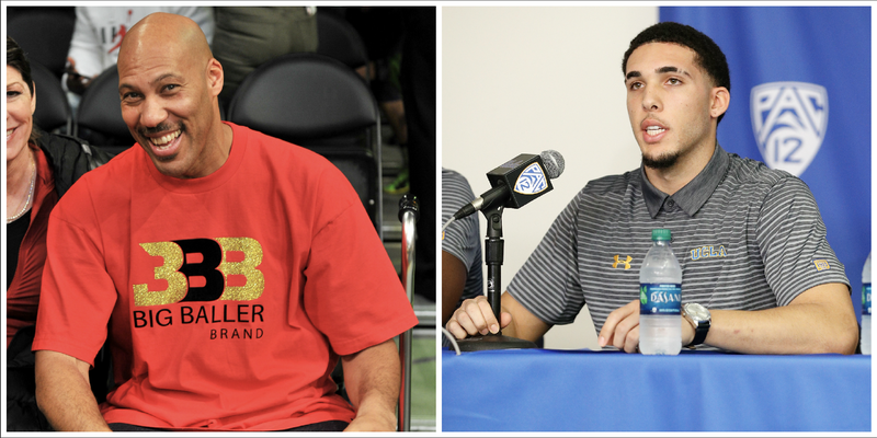 LaVar Ball (Allen Berezovsky/Getty Images); his son LiAngelo Ball (Josh Lefkowitz/Getty Images)